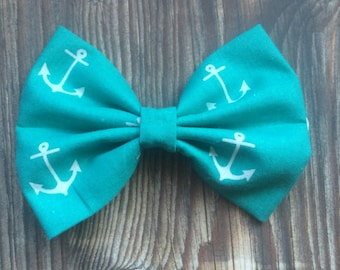 Anchors Away Teal Bow