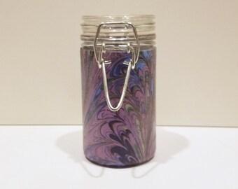 Small Glass Stash Jar : Latch-Top Jar - Purple Pink and Green Paint Paisley