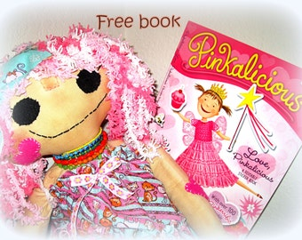 Big large cloth doll with Pink hair and free book