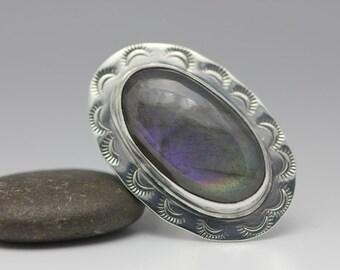 Purple Labradorite and Sterling Ring, Oval Labradorite, Purple Flash, Unisex, Statement Ring, Size 8
