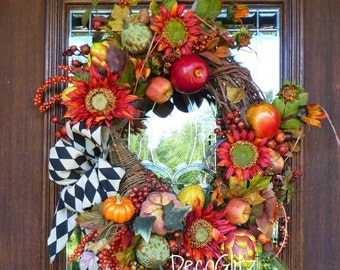 Grapevine Fall Harvest Cornucopia Wreath with FRUIT, PUMPKINS, SUNFLOWERS and Harlequin Bow