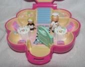 Vintage 1990 Bluebird Polly Pocket - Mr. Fry's Restaurant - Complete with Waitress, Cook Figures - Pink Flower Shape