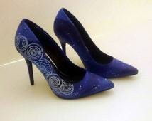 Stars and space, high heels wedding shoes - custom Hand painted and made to order.