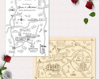 Custom Map Wedding Invitation or Info Card - Mono Colour | Vintage Invitation | Unique  | Minimalist | Elegant