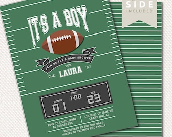 Football Baby Shower Invitation, Little Boy Baby Shower - Sports theme Couples Shower