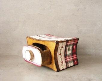 Special box,  jewelry box, OOAK Jewelry storage keepsake drawer, wooden box, plaid, red, green ivory