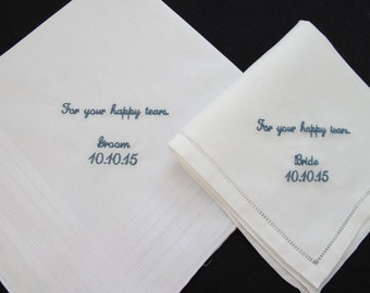 Embroidered Wedding Handkerchiefs exchanged between the Bride and Groom