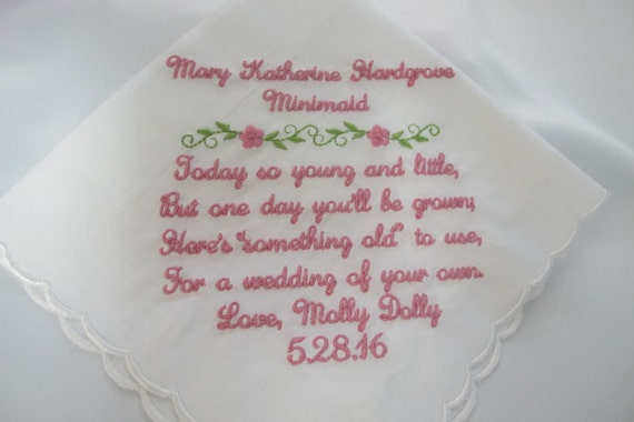 Wedding Handkerchief embroidered for Flower Girl