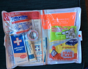 FIRST AID KIT, Vintage safety supplies, highway signals, mid century