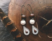 Earthy Brown & White Teardrop Earrings