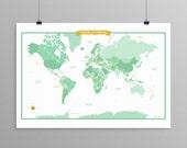 World Map - Soft Green - modern design print 13x19