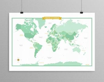 World Map - Soft Green - a Scandinavian modern design print // 13x19 // mid century modern map // kids room wall art // kids room decor