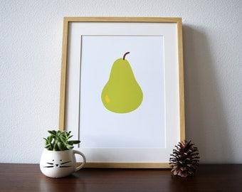 Pear - a Scandinavian modern design print // 8.5x11 or 13x19 // poster for nursery or children // kitchen wall art // kitchen art print