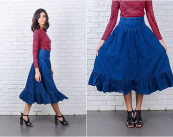 Vintage 80s Blue Jean Denim Midi Skirt High Waist XS Retro 7168