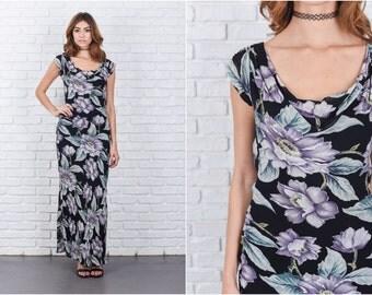 Vintage 90s Black Grunge Dress Floral Print Maxi Cap Sleeve Small S 7672 vintage dress 90s dress grunge dress maxi dress small dress