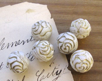 Opaque White Pressed Glass Rose Beads with Gold Inlay 13mm Czech New (6)