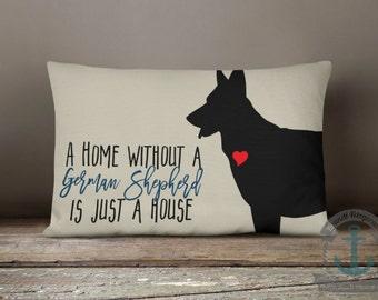 "German Shepherd Home Lumbar Pillow - Dog Love Country Chic Pet Decor - 14 x 20"" Long Oblong Pillow"