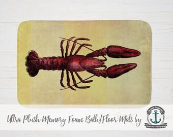 "Plush Bath Mat 34x21"" - Red Lobster | Nautical Sea Life Beach House Decor | Plush Memory Foam + Mold Resistant | 34x21"""