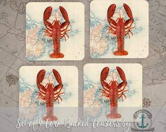 Lobster Coaster Set: Rockport Mass Red Lobster Vintage Map Beach House Nautical Style | Cork Back Home Accessories