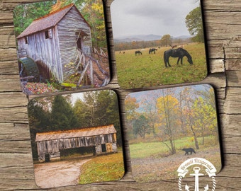 Smokey Mountains Coaster Set: Tennessee Cade's Cove Nature Rustic Style Cork Back Home Accessories