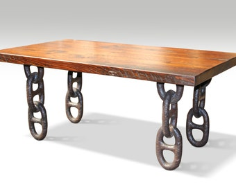 Farm table top with anchor chain legs coffee table