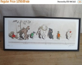 Vintage Prints, Dog Art, 1930's signed Boris O Klein Canine Hand Colored Print 'Etourdie'