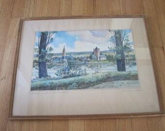 Watercolor Painting, Landscape Art Signed by G Zimmermann German Artist Eltville Castle Eiland