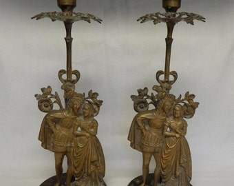 Sale Vintage Brass Renaissance Couple Figural Candlestick Holders / Home Decor 1930's-40's