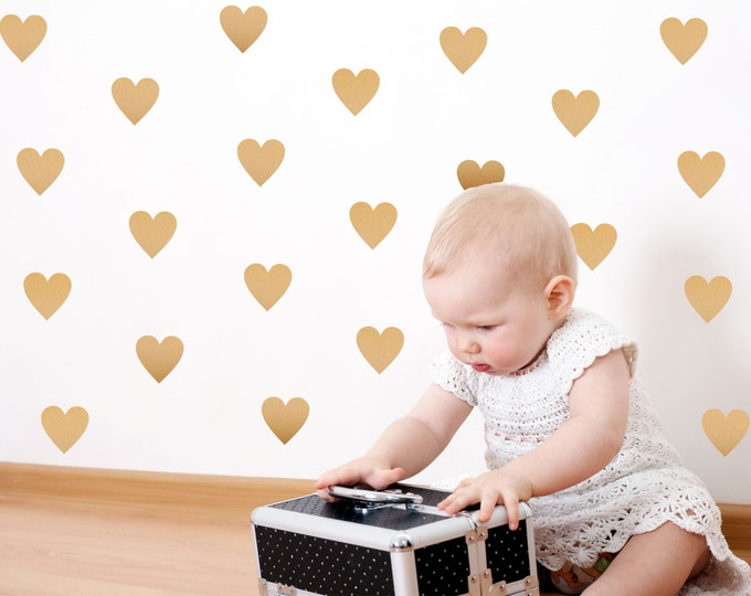 Peel and Stick Gold Heart Wall Decals //  Nursery Wall Decor // Heart Stickers Metallic Gold