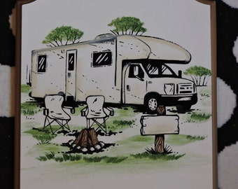 Class C motorhome,rv signs , camping signs
