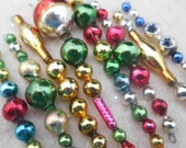 8 Vintage Jewel Tone Christmas Icicle Ornaments Mercury Glass Garland Beads  (set 30)