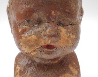 Vintage Spooky Composition Doll Head Halloween Decor