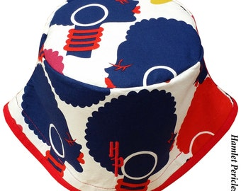 African Queen Red Brim XL Bucket Hat   Afro   Afrocentric Hat   Natural Hair Hat   African   Red Blue Hat by Hamlet Pericles   HP11316c