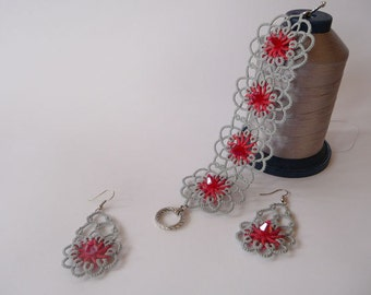"Tatting jewelry set - tatted lace set with  beads ""Coral in silver""- OOAK- earrings and bracelet  - Gift for her - party cocktail -victorian"