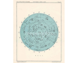 STAR MAP SOUTHERN index celestial astronomy vintage celestial chart print