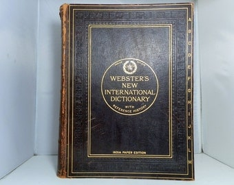 1928 Webster's Dictionary of the English Language with a Reference History of the World Leather Bound India Paper Very Large and Rare Book