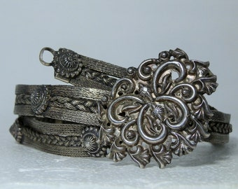 Vintage Woven Silver Belt Rajasthan India Jewelry Ornate Handmade Silver work 34 inch long Woven Silver with Silver Buckle DanPickedMinerals
