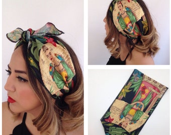 Buy 3 get 1 free!  Frida Kalho Wide Hair Wrap, One Sided, Bandana, Hairbow Tie, 1950s  Vintage Pinup Style Hair Tie