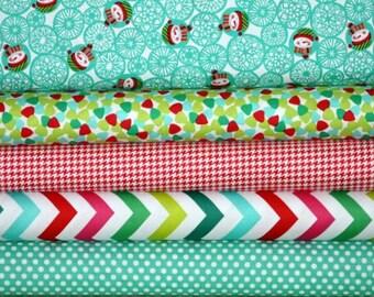 Christmas Fabric Bundle for quilt or craft Michael Miller Manflakes Bundle 5 Half yards