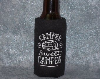 Beer Bottle Holder, Slim Can Cozy, Camper