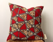 Red Delta African Print Pillow Cover