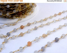 35% off Wholesale Moonstone Chain-- Multicolored Moonstone on Gold Plated Wired Wrapped Chain PER FOOT (CHN-363)