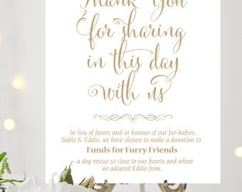 In Lieu of Favors Sign | 8 x 10 | Personalized | Bella | Antique Gold | I Create and You Print
