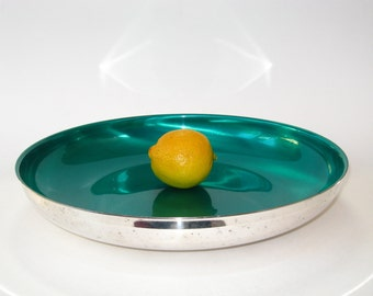 """Oneida Mid Century Modern Silver Plate and Green Enamel Large 12""""+ Low Console Bowl"""