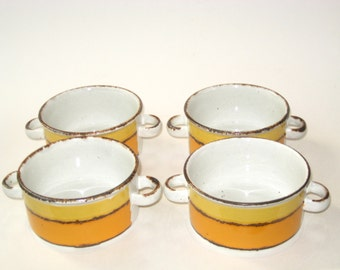 Midwinter England STONEHENGE SUN Set 4 Onion Soup Bowls - Mid Century Modern Stoneware Handled Chili Crocks