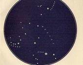 Vintage 1920 Edwardian corona borealis Map 19 Stars astronomy print star chart zodiac constellations Celestial Maps