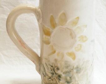 Sun flower ceramic coffee mug 20oz stoneware 20C034