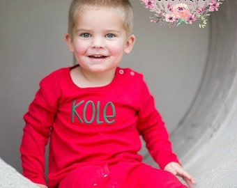 RED Long Sleeve Monogrammed Romper - Boy's pajamas - Boy's Holiday outfit - Long Sleeved romper