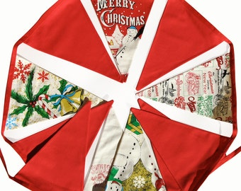 Christmas Bunting -  Red Traditional Style Flags  - Xmas Frozen Snowman Banner, Party Decoration . HANDMADE .