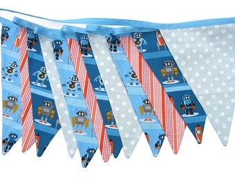 Robots & Rockets Flag Bunting for Boys. Use - Wall hanging, Parties, Market Stall, Bedroom Decoration, etc .  Made in Australia